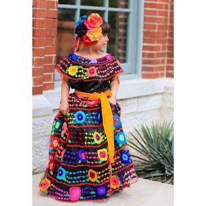 Mexican Chiapas Dress 2 Pc Chiapaneca Girls Sz 6 7